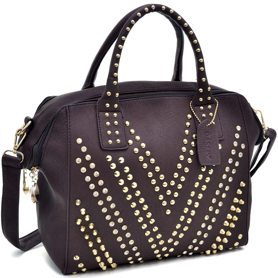 Dasein® Dual Zip Satchel With Studded Chevron Design
