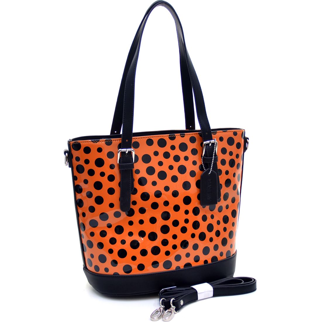 Dasein® Tall Glossy Polka Dot Shoulder Bag