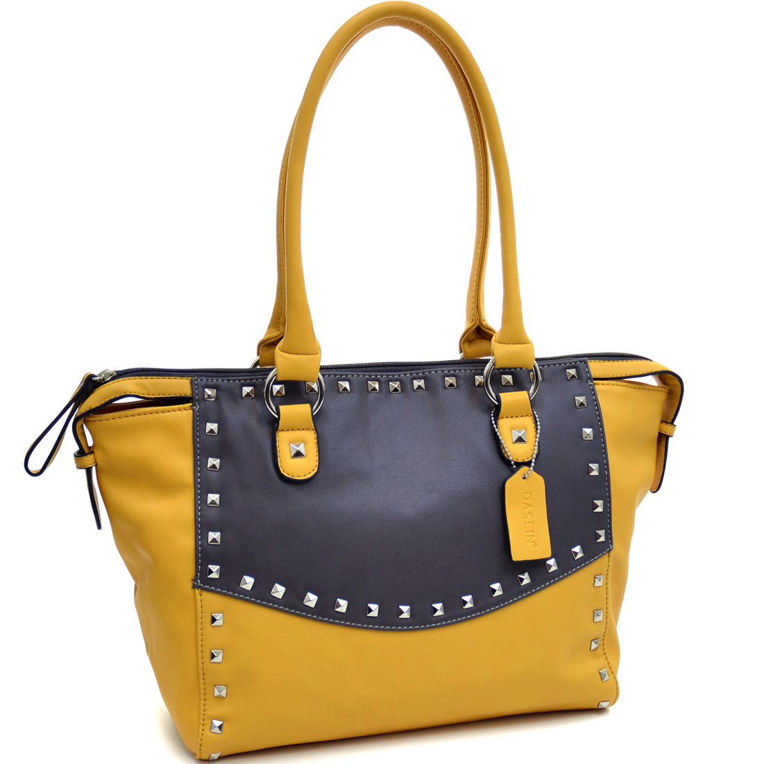 Dasein® Pyramid Studded Two Tone Winged Satchel