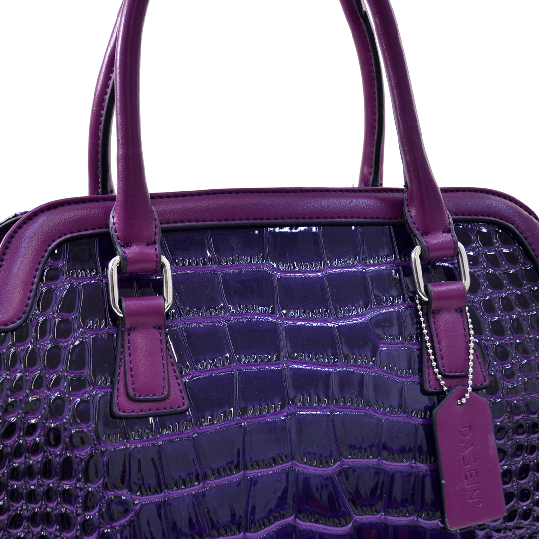 Dasein® Tall Patent Croco Satchel With Side Pockets