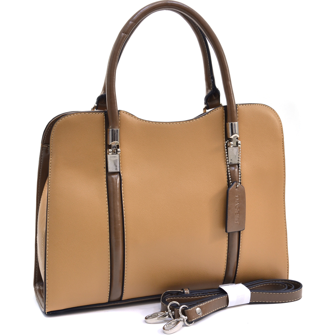 Dasein® Dual Stripe Two Tone Satchel