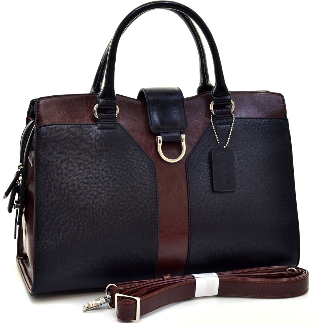 Dasein® Symmetric Two Tone Satchel With Silver Half Ring Accent