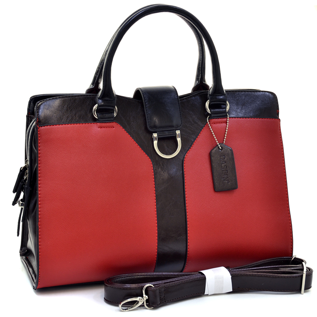 Two Tone Satchel With Silver Half Ring Accent