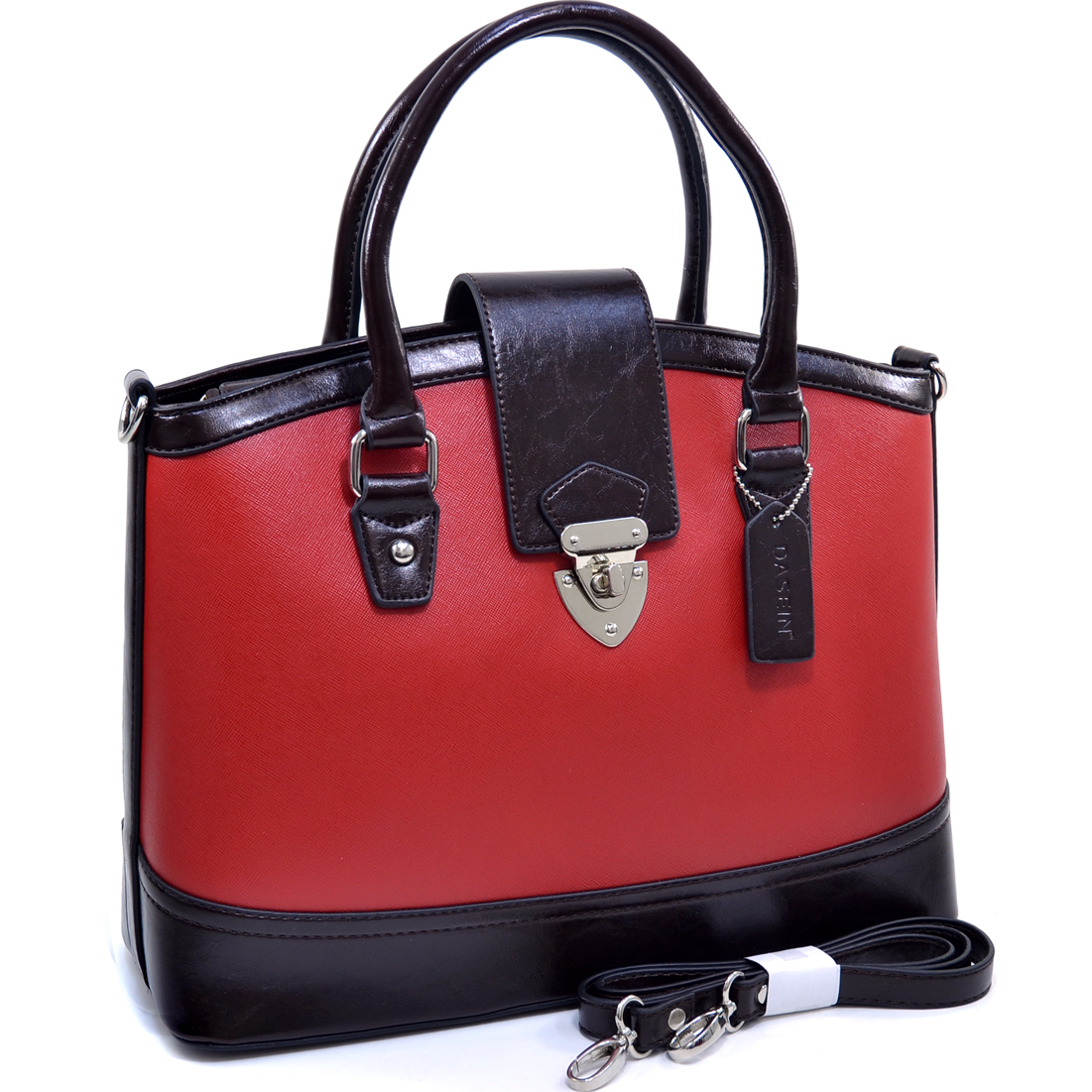 Dasein® Tall Two Tone Satchel With Twist Lock