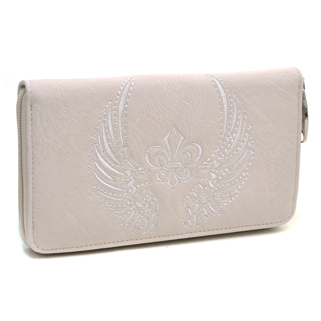 Ustyle Western Fleur de Lis and Wings Emblem Zip  Around Wallet