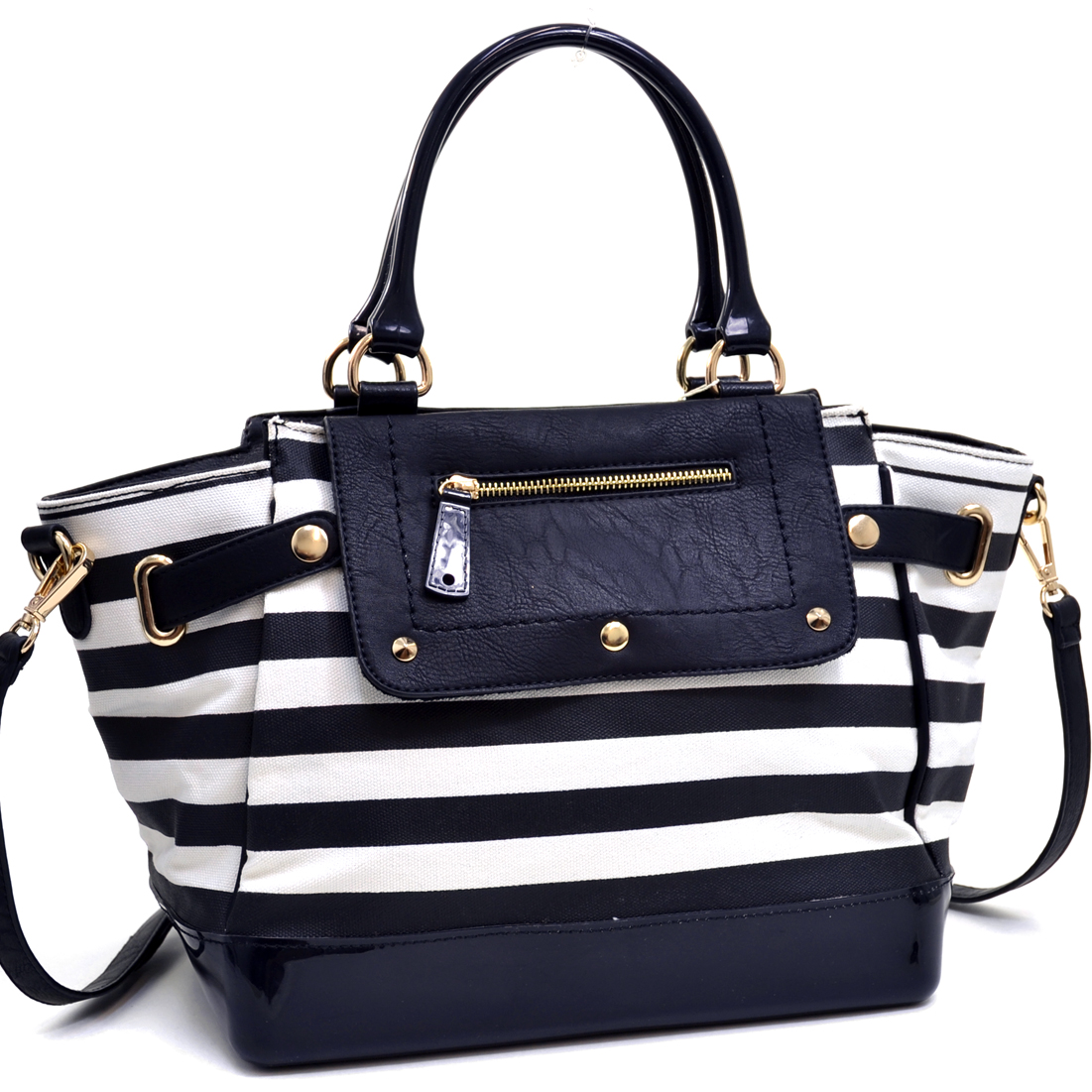 Canvas Body Jelly Striped Satchel with Faux Leather Trim