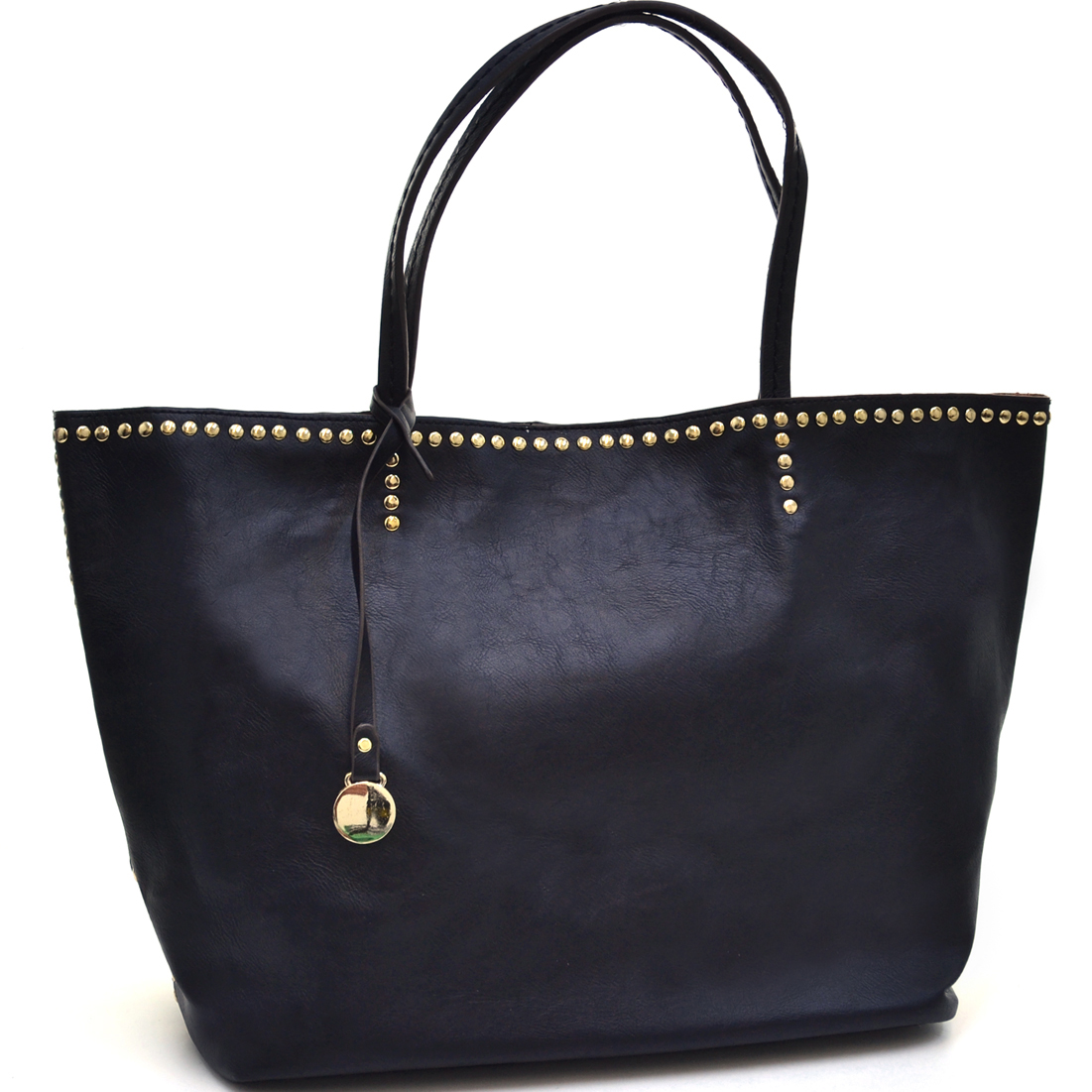 2 in 1 Oversized Fashion Tote With Subtle Gold Studs