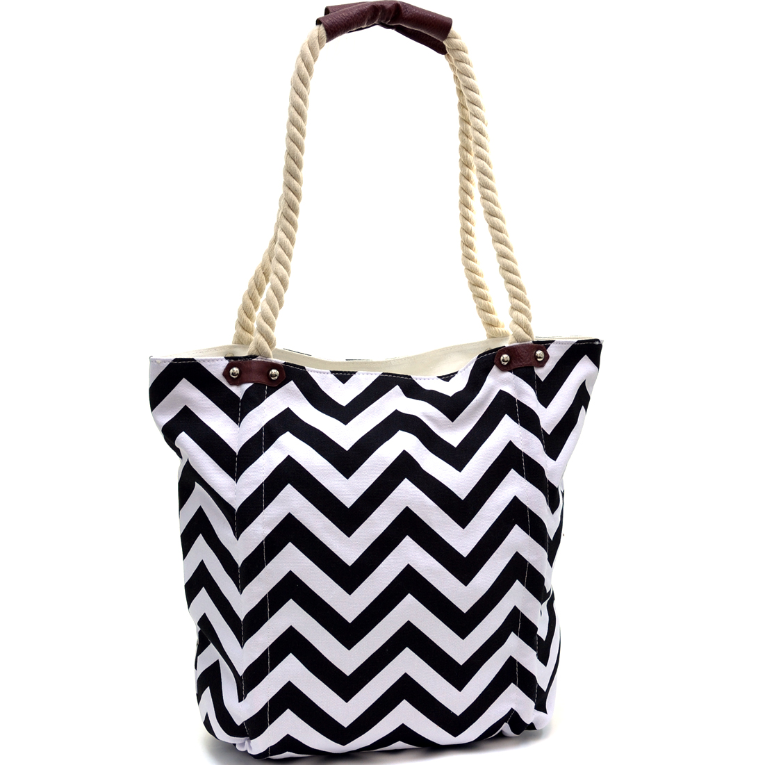 Large Chevron Canvas Tote With Braided Straps