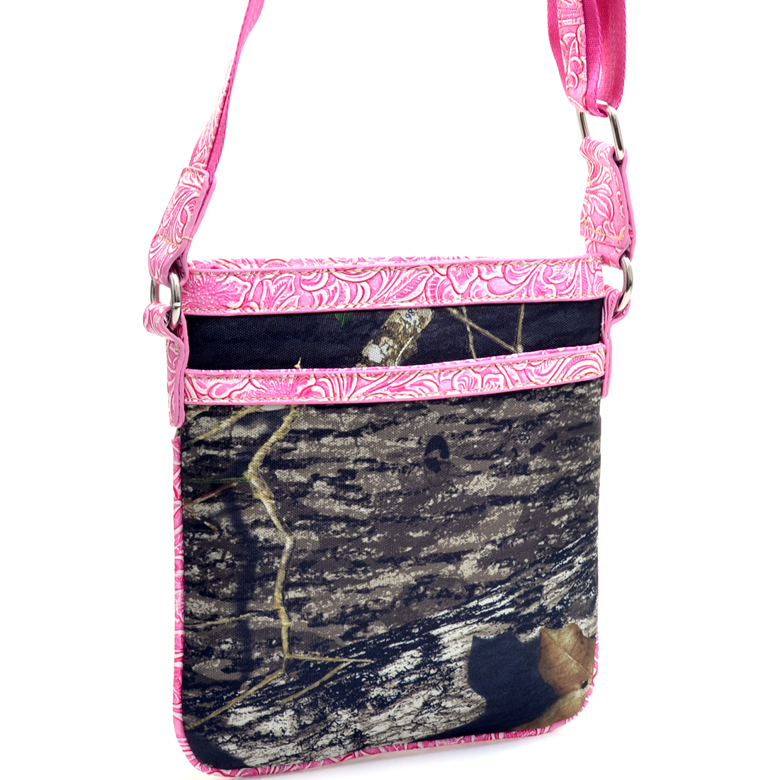 Mossy Oak ® Faux Leather Trim Amouflage Shoulder Bag w/ Flapover Top Snap Closure