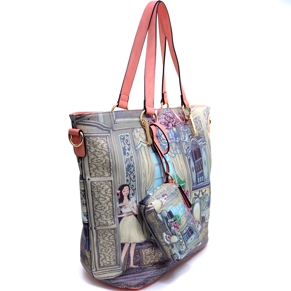 Fashion Tote Bag with Vintage Lady Print and Coin Purse