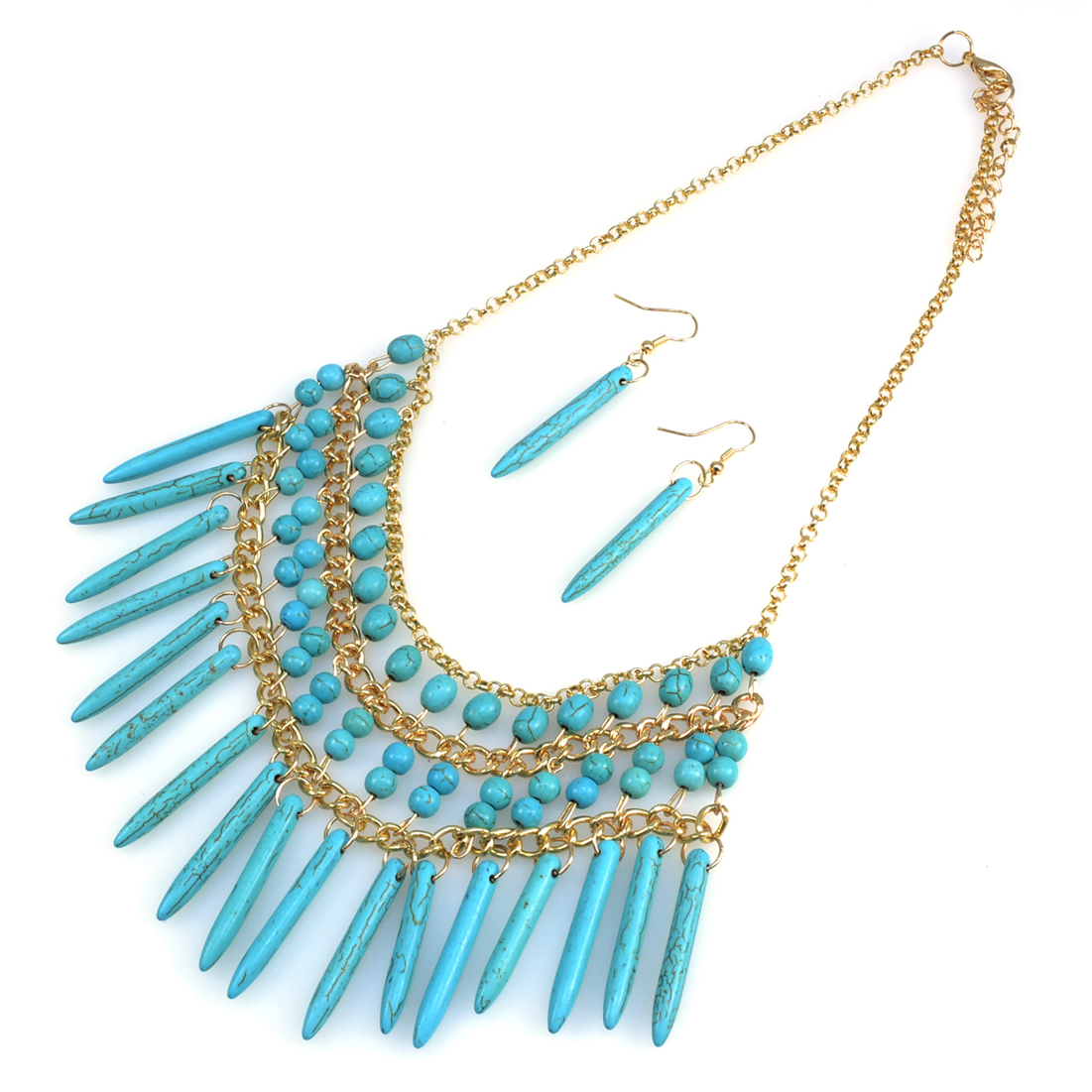 Turquoise Beaded Bib Necklace and Earring Set