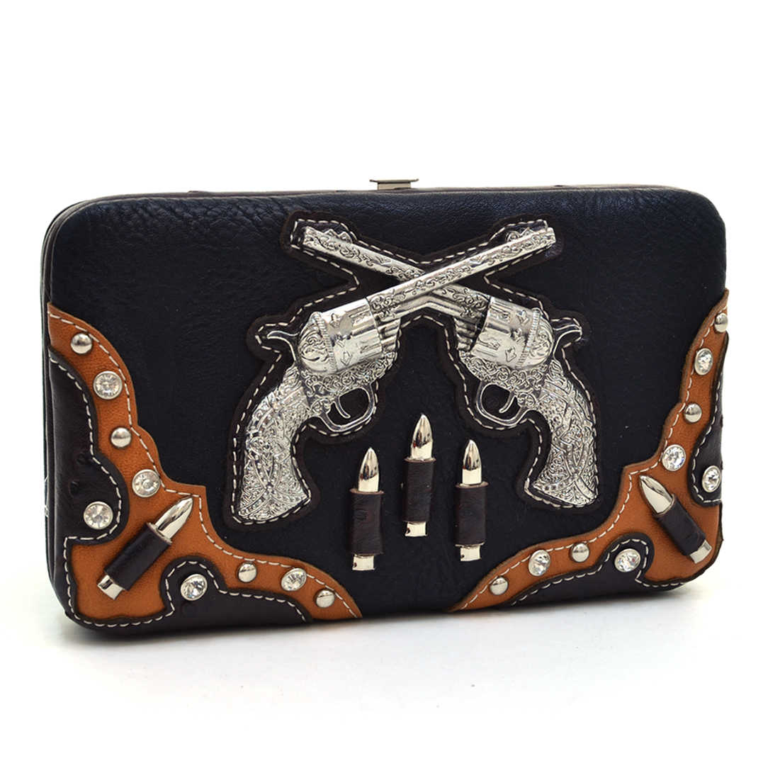 Western Studded Six Shooter Frame Wallet