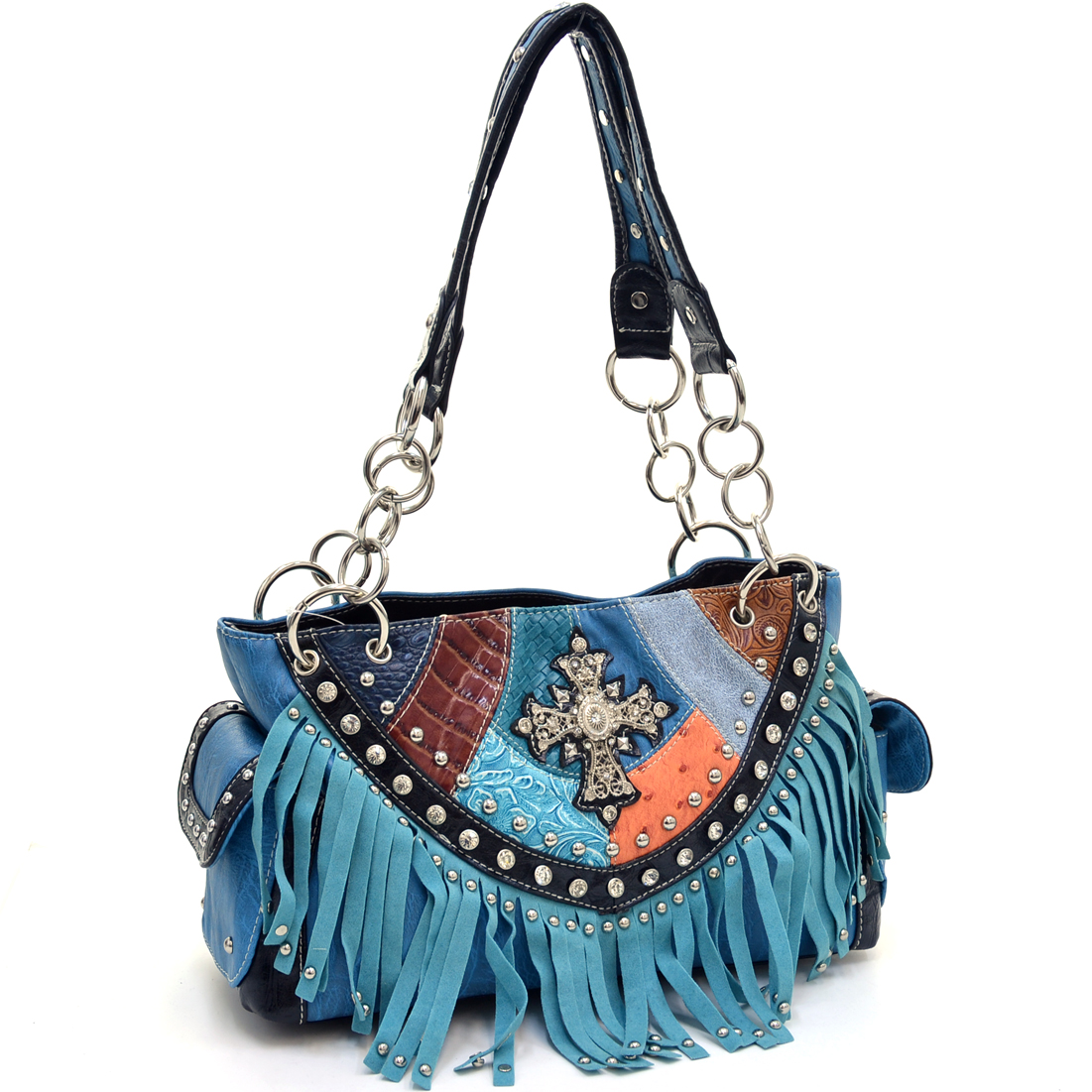 Western Studded Cross and Fringe Shoulder Bag