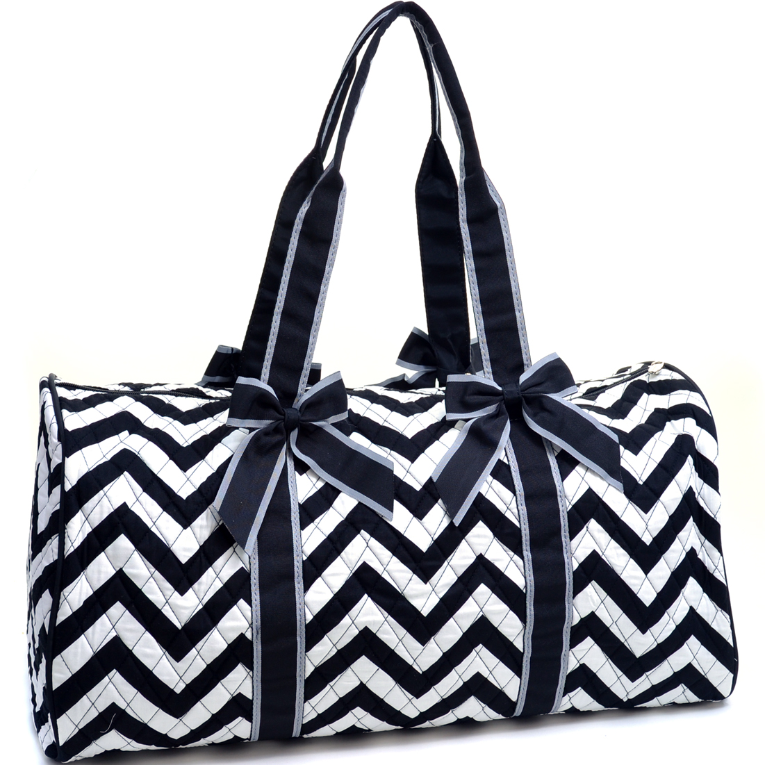 Rosen Blue™ Large Quilted Duffle Bag with Bow Decor in Chevron Print