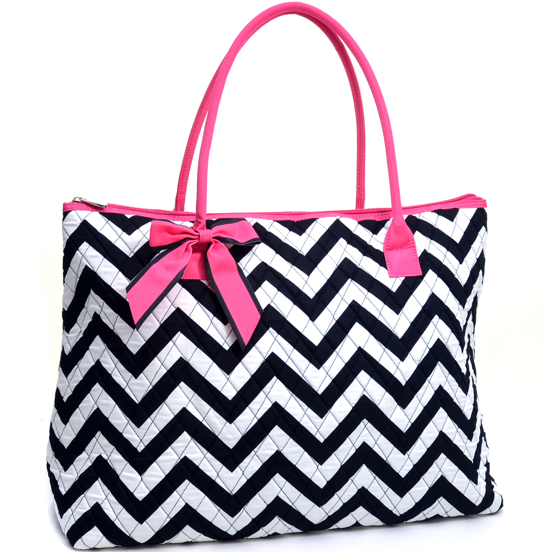 Rosen Blue™ Oversized Quilted Tote Bag with Optional Bow Decor in Chevron Print