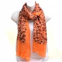 Mesh And Free End Fringe Leopard Print Scarf