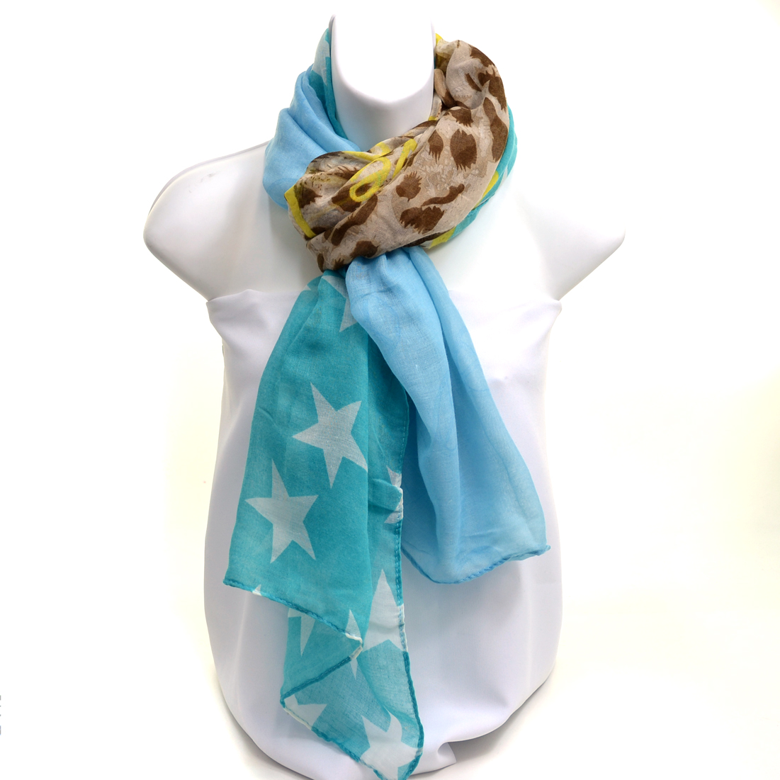 Sheer Free End Multi-Print Fashion Scarf