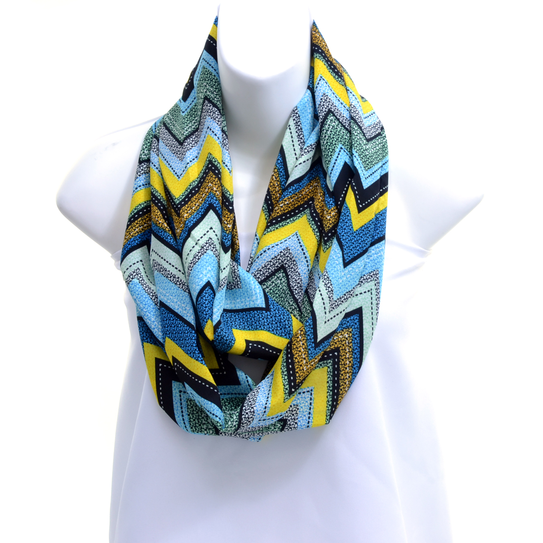 Silky Abstract Chevron Loop Scarf