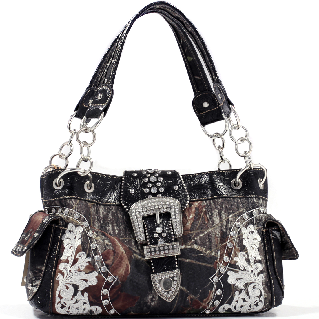 Mossy Oak Rhinestone Buckle Shoulder Bag