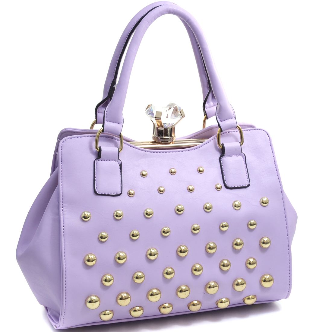 Petite Round Studded Frame Satchel With Large Jewel Stone