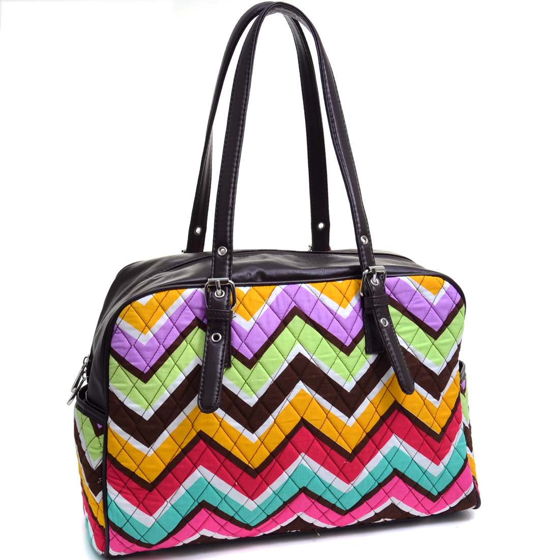 Rosen Blue™ Quilted Neon Chevron Print Weekend Satchel