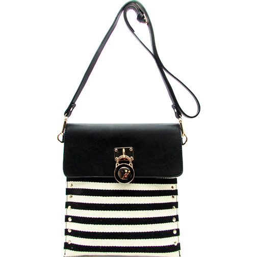 Striped Canvas Messenger Bag With Lock Accent