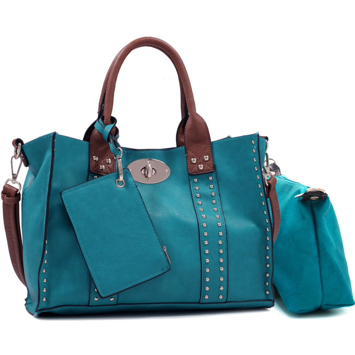 Women's Ripple-Layered Satchel w/ Stitched Trim & Bonus Shoulder Strap