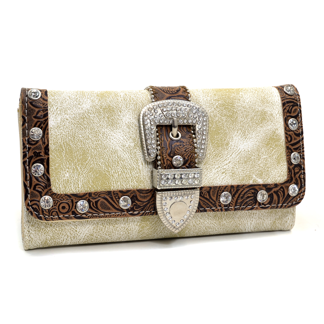 Rhinestone Embellished Buckle Western Wallet With Floral Texture Trim