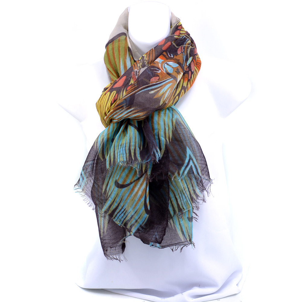 Sheer Free-end Butterfly Montage Fashion Scarf