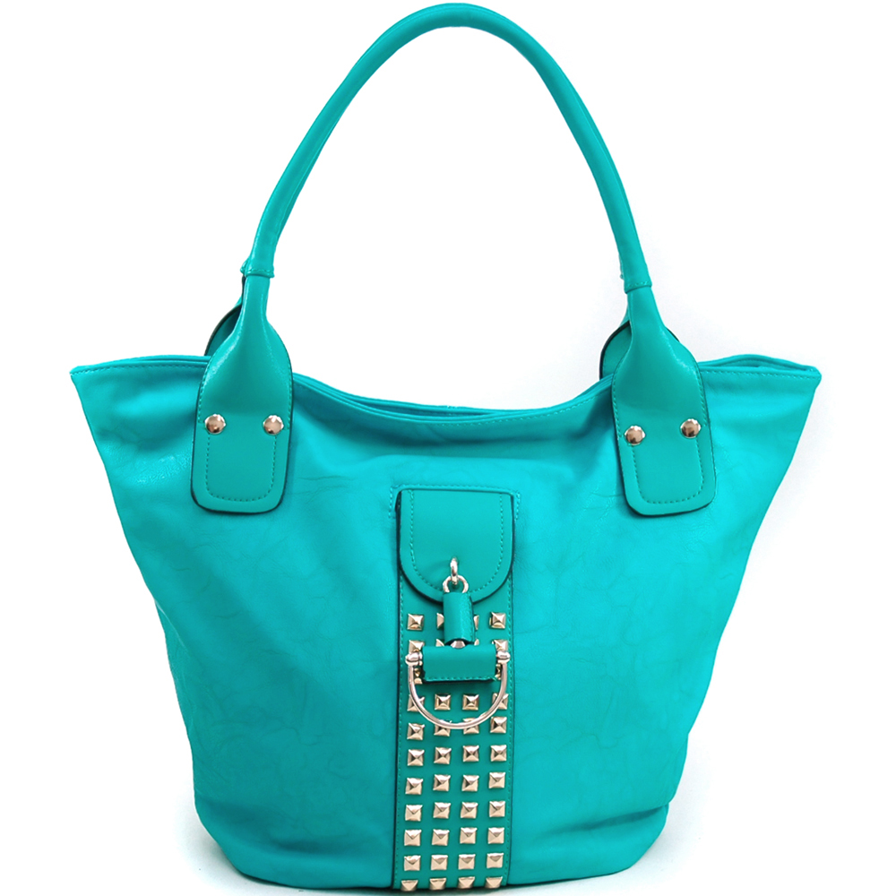 Dasein Women's Fashion Tote with Rounded Pyramid Studs & Tassel Accent