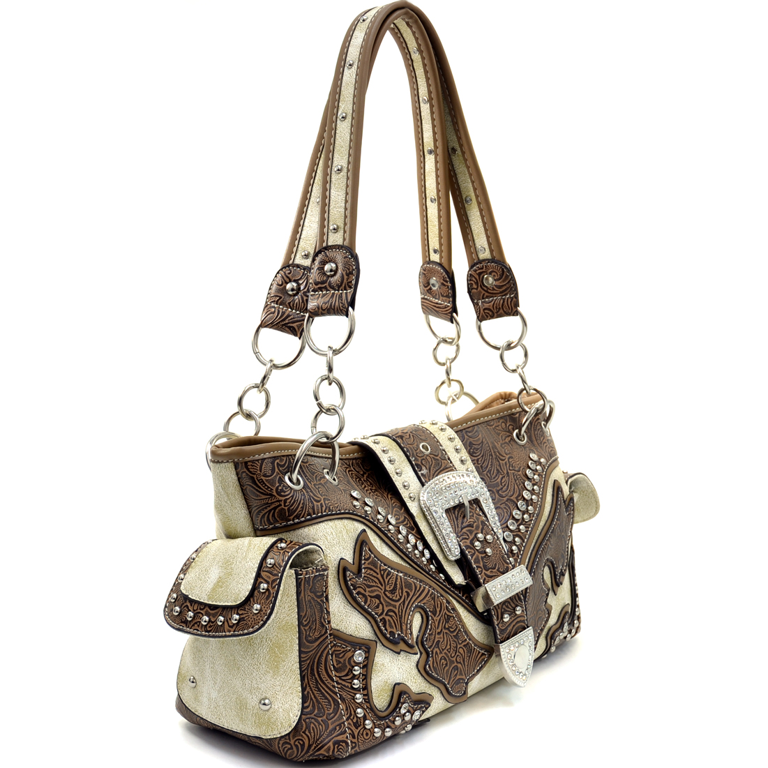Buckled Rhinestone Studded Western Shoulder Bag