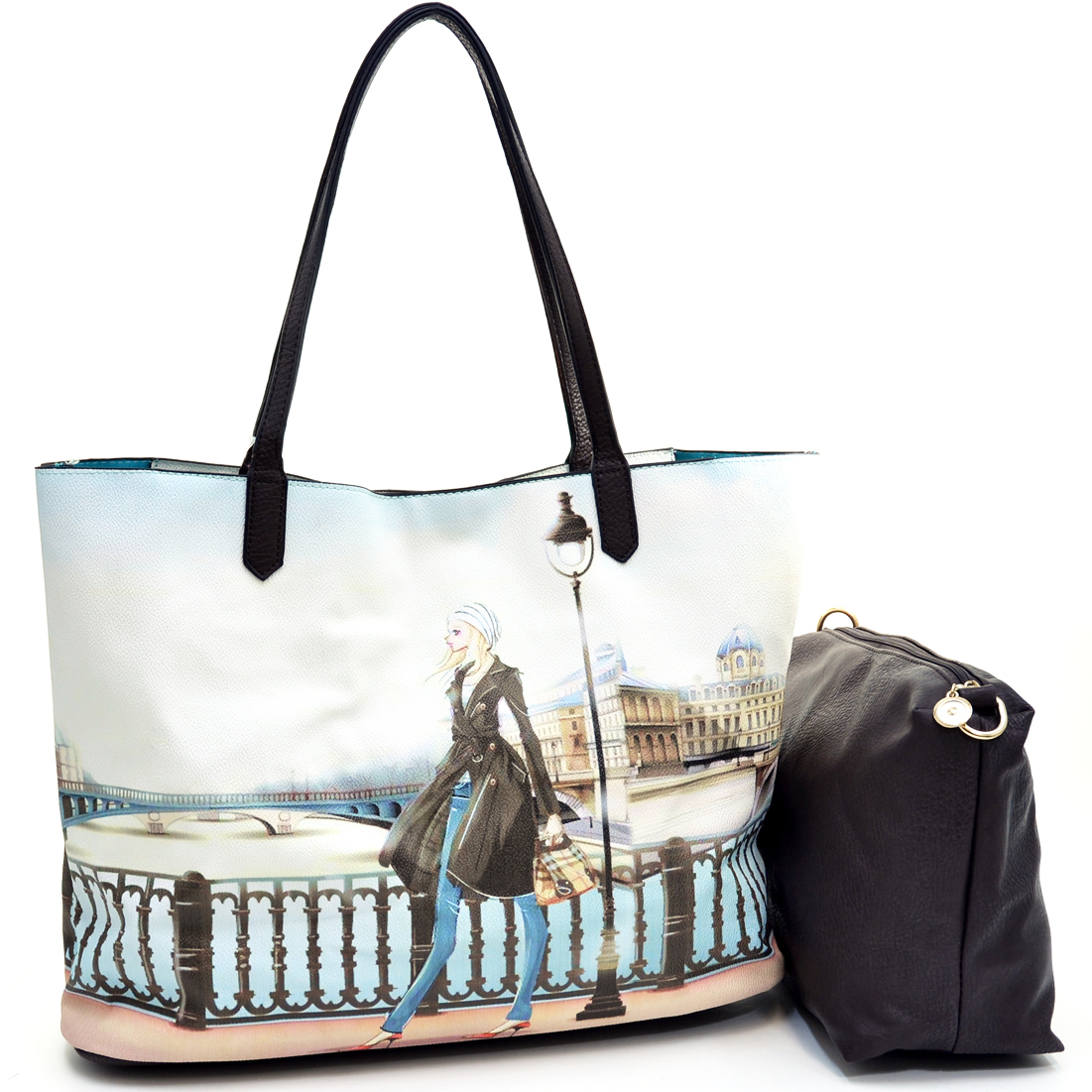 2 in 1 Art Print Fashion Tote