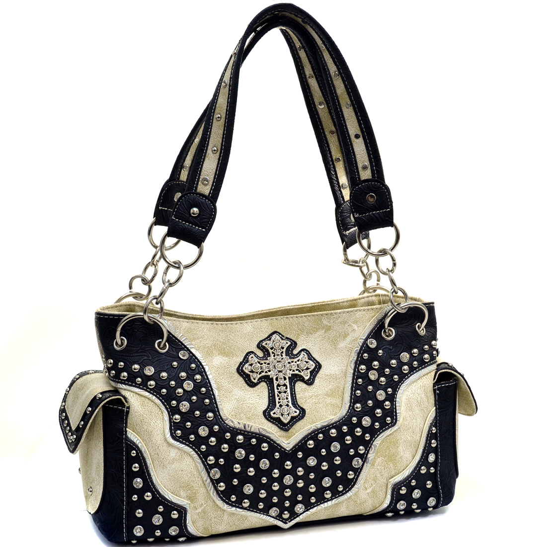 Rhinestone Studded Cross Western Shoulder Bag