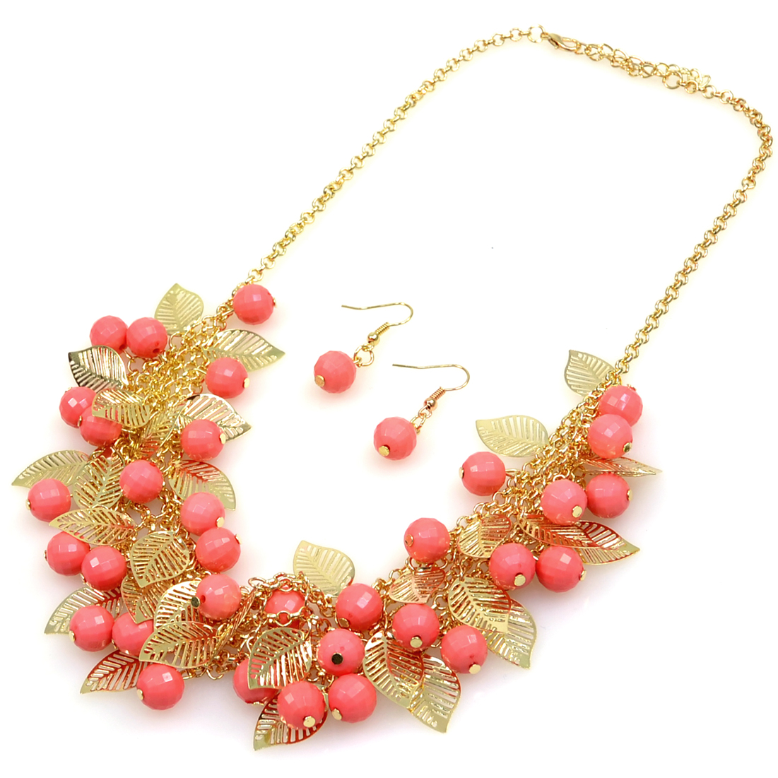 Bead And Leaf Design Bib Necklace And Earring Set