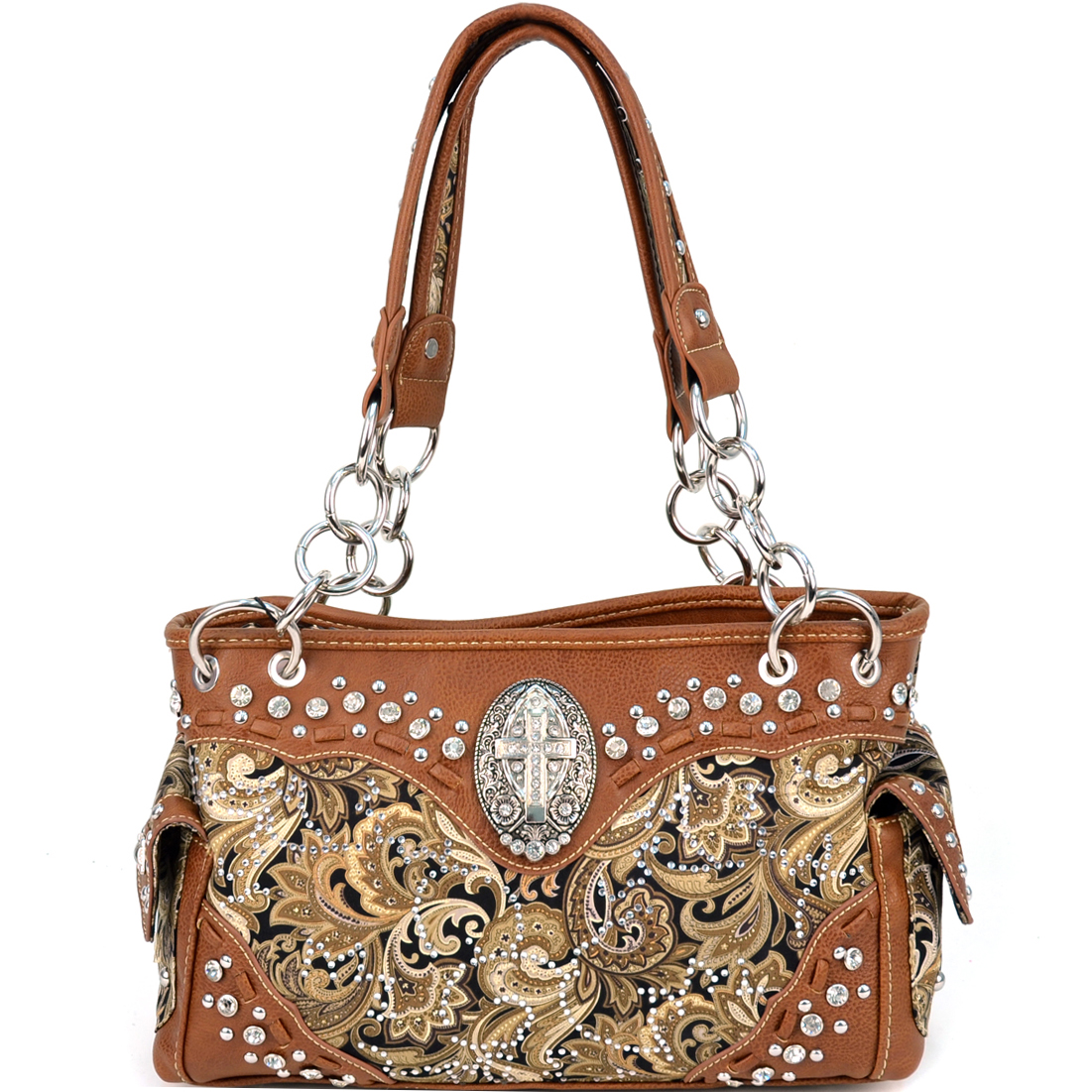 Montana West Paisley Print Western Shoulder Bag With Cross Accent