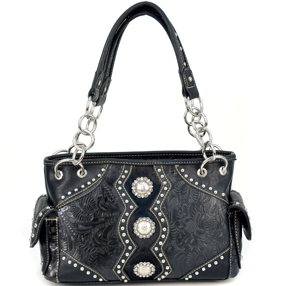 Montana West Floral Tooled Faux Fur Western Bag With Conchos - Black