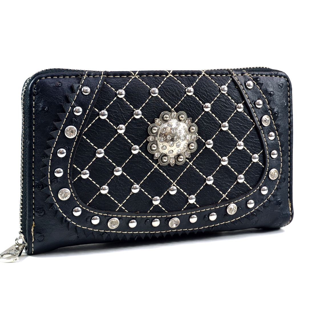 Montana West Concho Accent Ostrich Textured Western Wallet With Quilted Accent