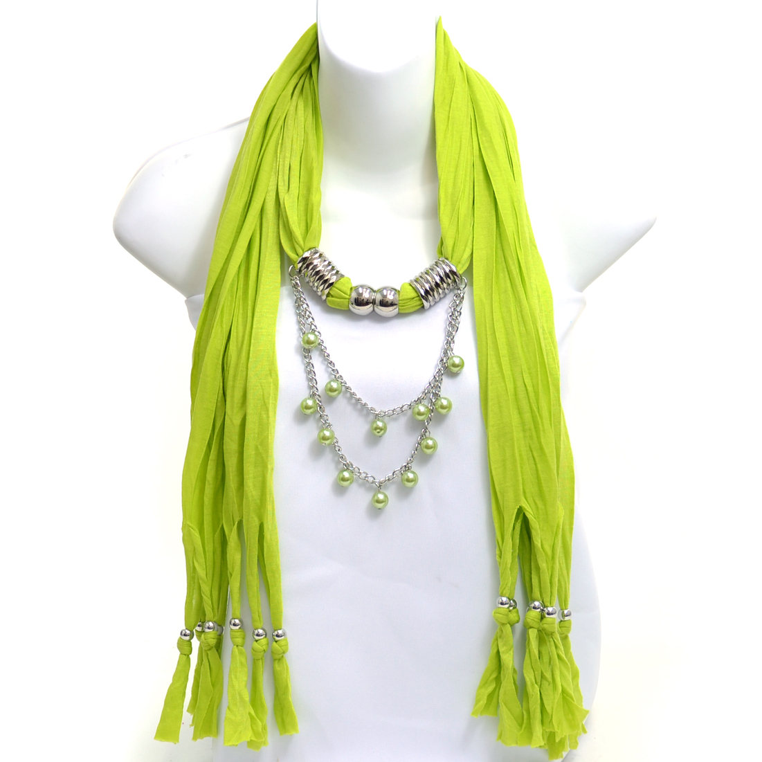 Women's Necklace Style Fashion Scarf w/ Beads Embellished Disc Charm