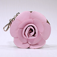 Floral Rosette Coin Purse with Rhinestone Brooch - white