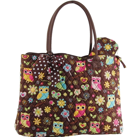 Owl and Flower Quilted Tote with Coin Purse - Brown