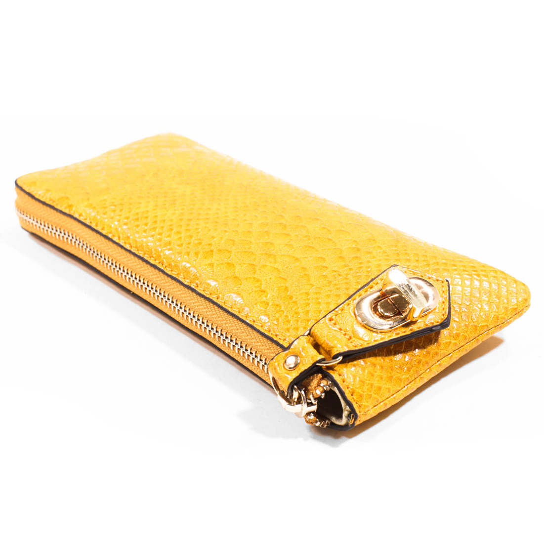 Fashion Zip Around Wallet with Snake Embossed Texture