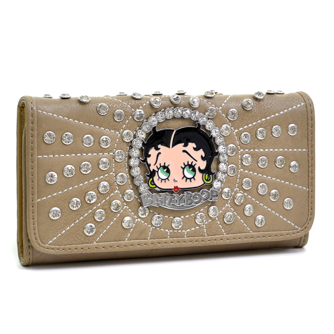 Betty Boop® Rhinestone Decor Checkbook Wallet with Stitches - Taupe