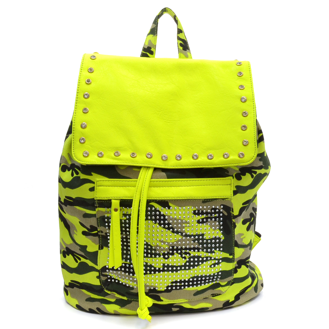 Camo Canvas Backpack with Studs Decoration with Neo color