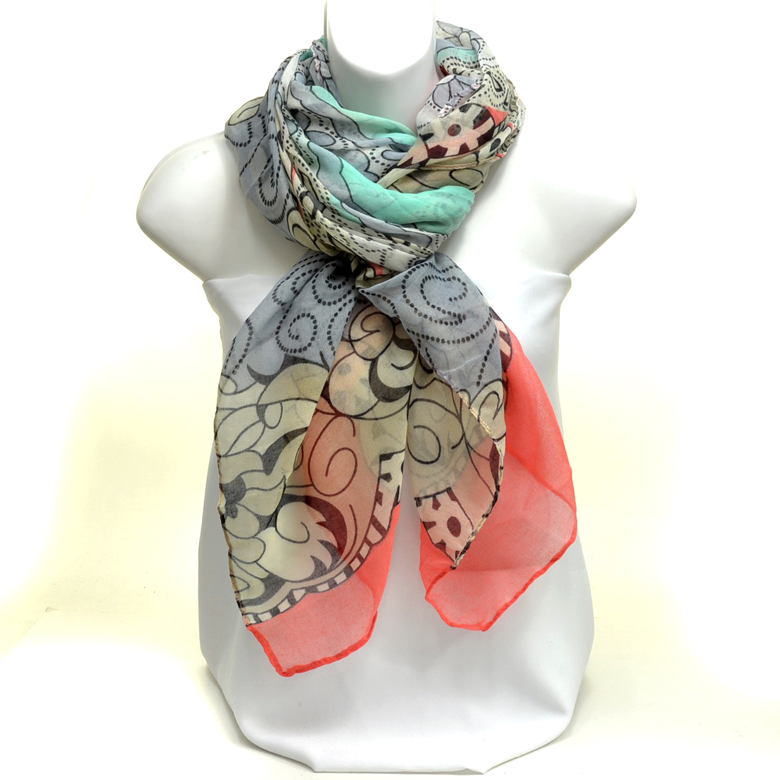 Sheer Free End Multi-Print Floral Scarf