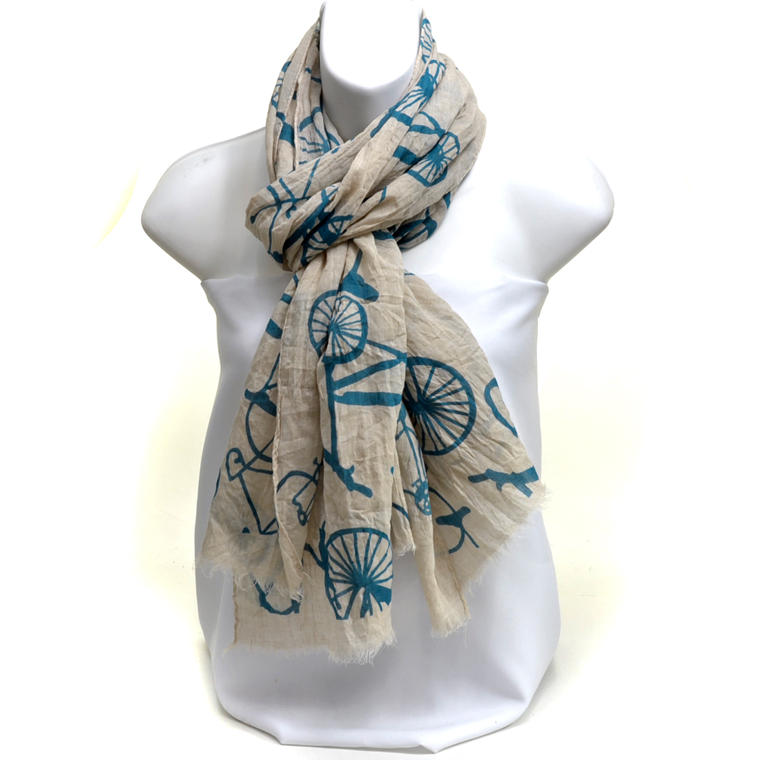 Sheer Free End Bicycle Patterned Scarf