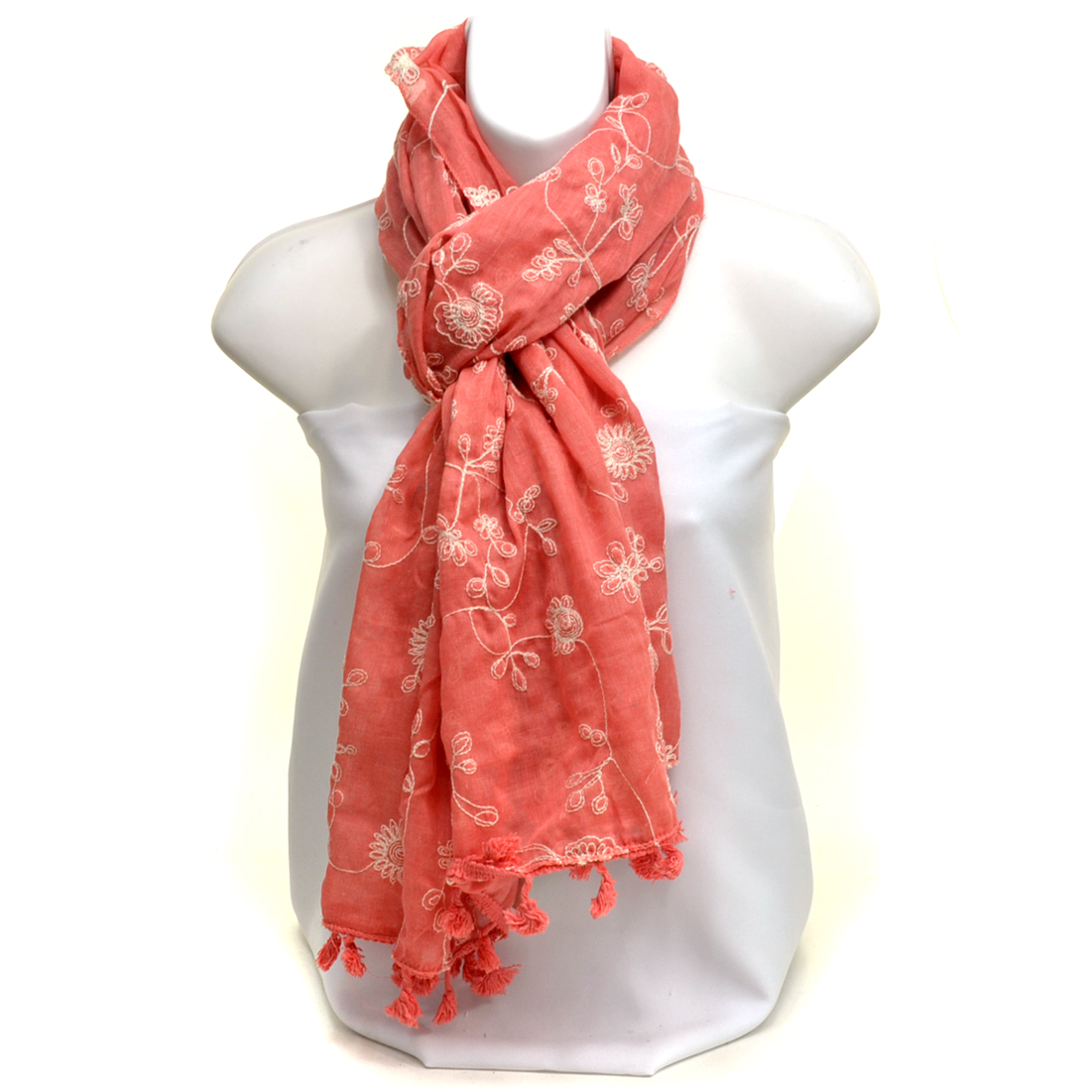 Sheer Free End Floral Embroidered Scarf