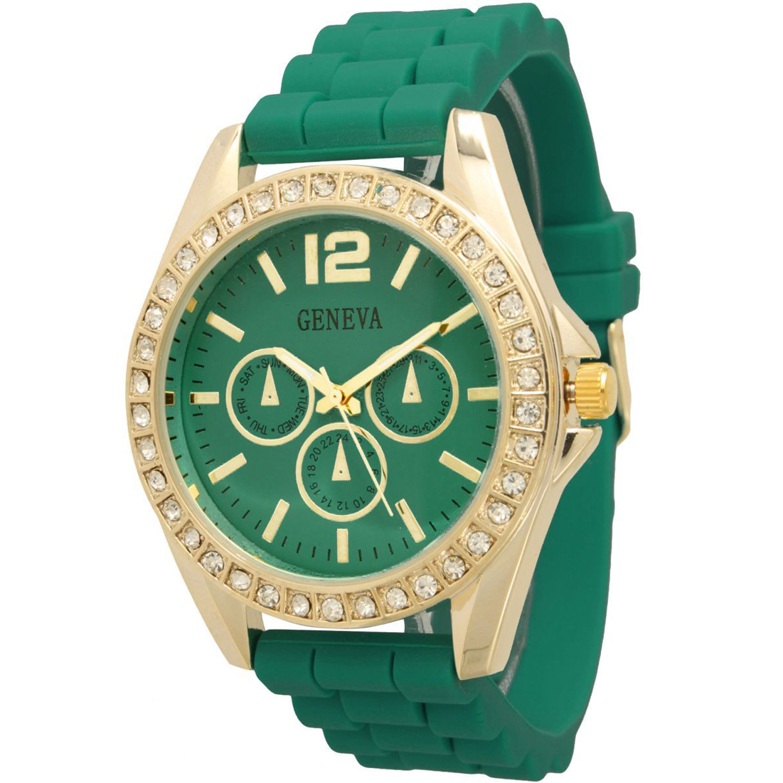 Rhinestone Bedazzled Silicone Cuff Watch