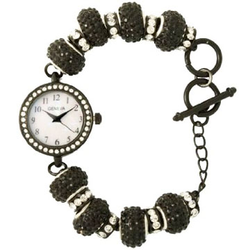 Rhinestone Bauble Bracelet Watch