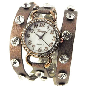 Faux Leather Rhinestone Wraparound Watch