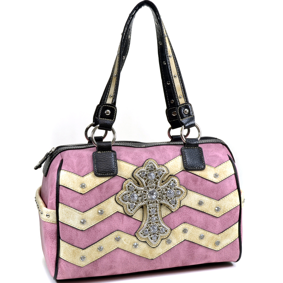 Western Cross and Rhinestone Accented Satchel Bag